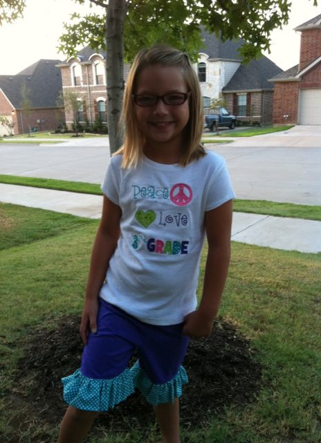 Custom Applique Peace, Love, 3rd Grade School Shirt