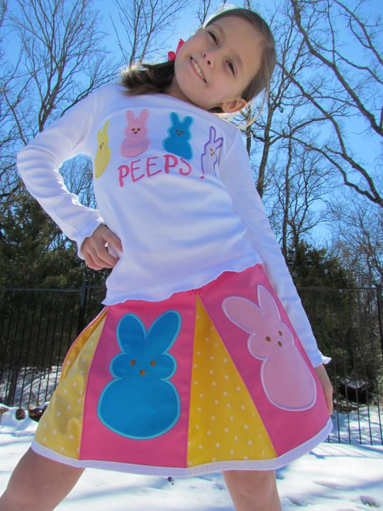 Custom Applique Peeps Easter Shirt and Skirt