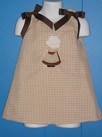 Custom Pilgram Girl Applique Thanksgiving Dress