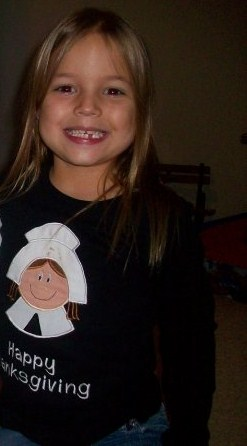 Custom Applique Pilgrim Girl Thanksgiving Shirt