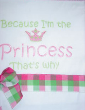 Custom Embroidered Princess Pillowcase Pink & Green