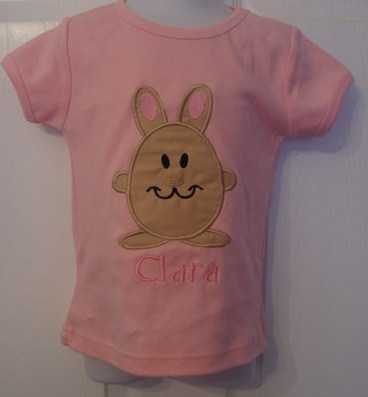 Custom Applique Pink Easter Bunny Shirt