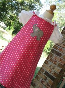 Custom Aline Elephant Dress (pink dots)