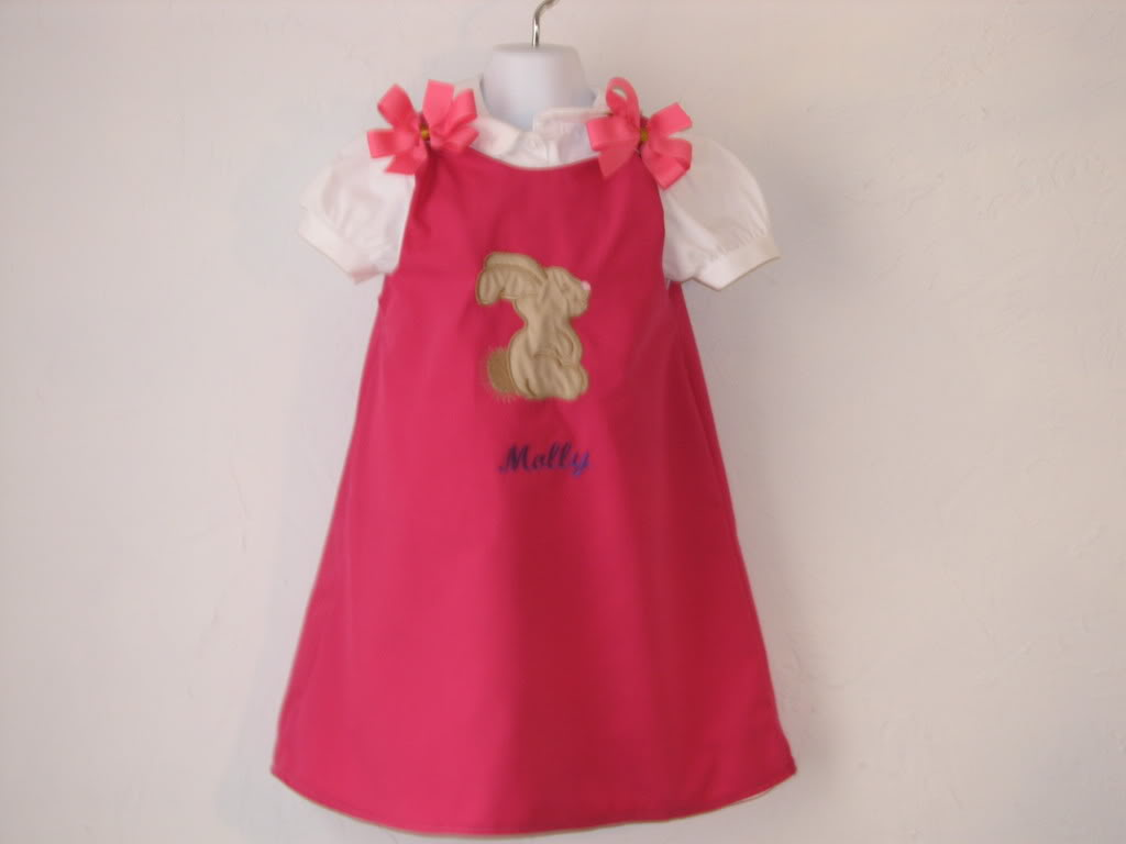 Custom Aline Easter Bunny Dress (hot pink)