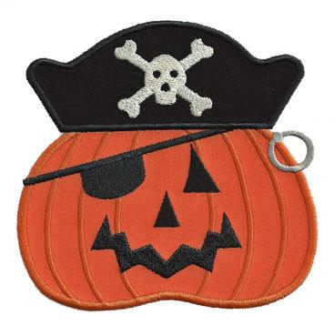 Custom Applique Halloween Pumpkin Pirate Shirt