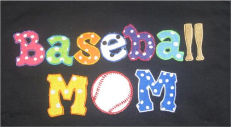 Custom Applique Baseball Mom Polka Dot Shirt