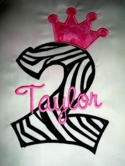 Custom Applique Number Birthday Zebra Princess Shirt