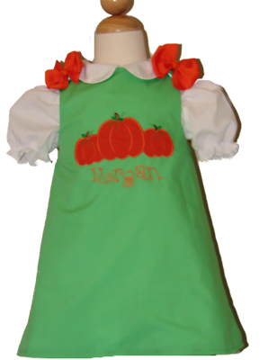 Custom Aline Pumpkins Dress (green)