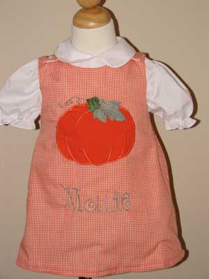 Custom Boutique Orange Gingham Halloween Pumpkin Dress