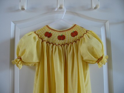 Custom Smocked Halloween/ Thanksgiving Pumpkin Dress
