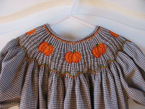 Custom Smocked Pumpkin Fall Halloween Thanksgiving Dress