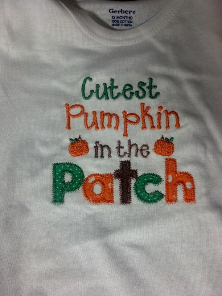 Custom Applique Cutest Pumpkin In The Patch Shirt