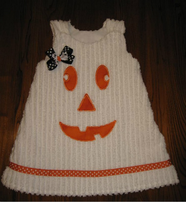 Custom Applique Halloween jack-o'-lantern pumpkin aline dress