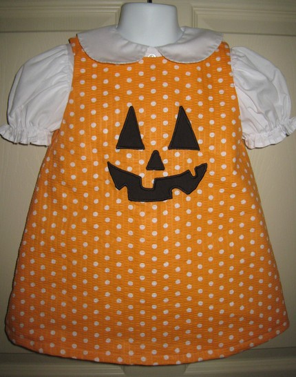 Custom Applique Halloween jack-o'-lantern pumpkin aline dress- Polka Dot