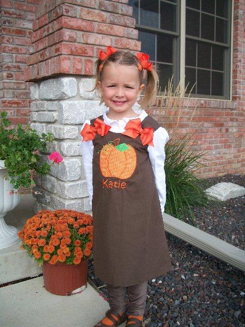 Custom Pumkin Applique Brown Halloween Aline Dress