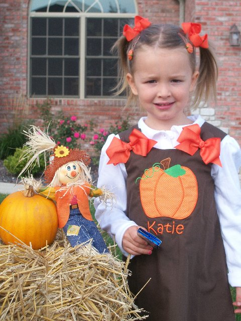 Custom Applique Pumkin Applique Brown Aline Dress