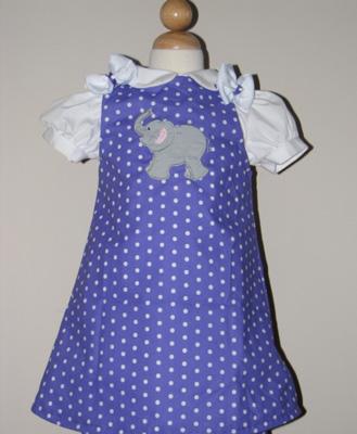 Custom Aline Elephant Dress (purple with dots)