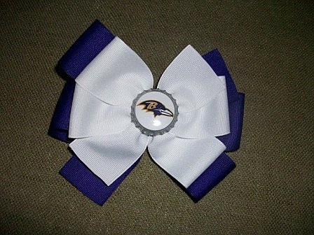 Custom Raven Football Hair Bow