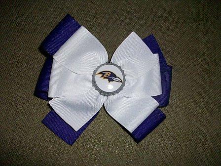 Custom Raven Football Hair Bow