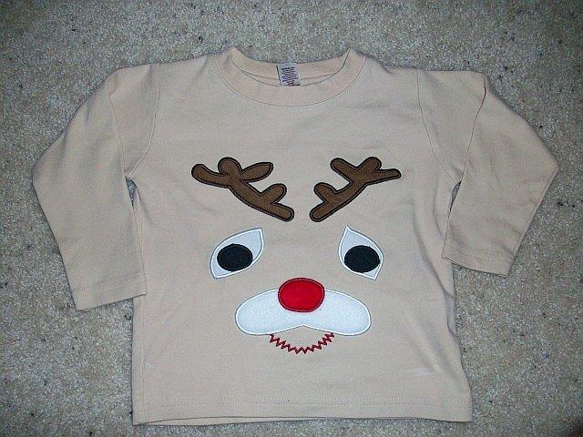 Custom Christmas Reindeer Applique Shirt