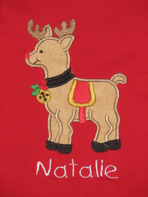 Custom Applique Full Body Reindeer Christmas Shirt