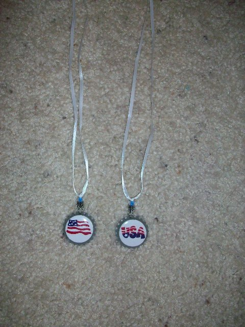 Custom 4th of July Bottlecap Ribbon Necklaces