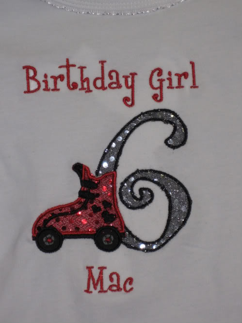 Custom Applique Skate Birthday Party Shirt