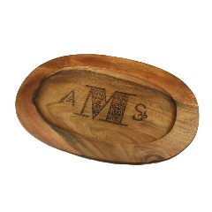 Monogrammed Round Wood Serving Tray