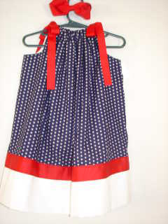 Custom Made Pillowcase Dress 4th of July Red, White, and Blue