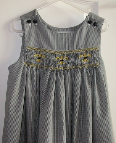Custom Smocked fleur-de-lis jumper Gingham Dress