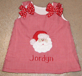 Custom Christmas Santa Aline Dress (red gingham)