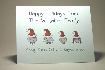 Santa-Hat Family Notecards Christmas