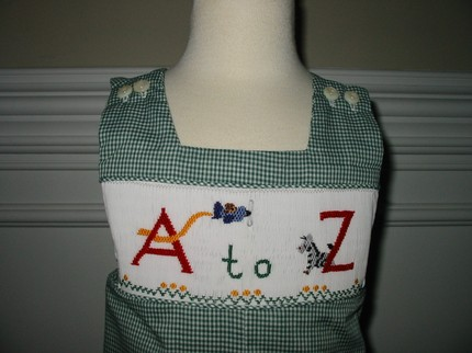 Custom Smocked A to Z School Jon Jon