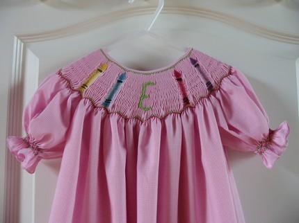 Custom Smocked Initial School Crayon Dress