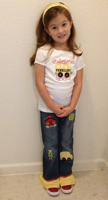 Custom Applique Ruffle School  Shirt and Jeans