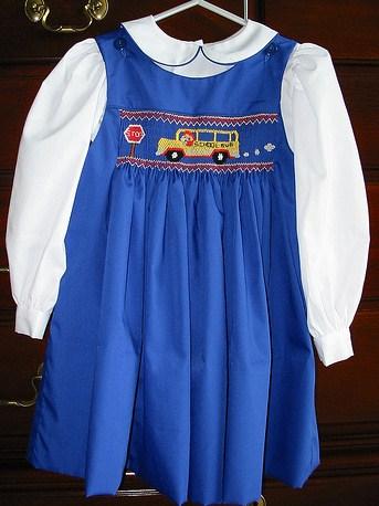 Custom School Bus Smocked Jumper Dress