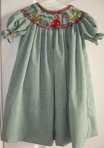 Custom Smocked School House Bus Bishop Dress