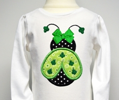 Custom Applique Shamrock Ladybug St. Patrick's Day Shirt