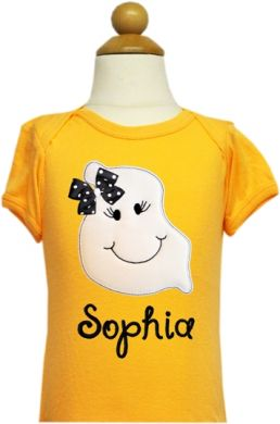 Custom Applique Silly Ghost Boy or Girl Halloween Shirt
