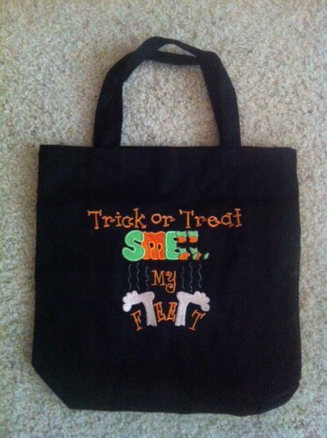 Custom Applique Trick Or Treat Smell My Feet Halloween Bag