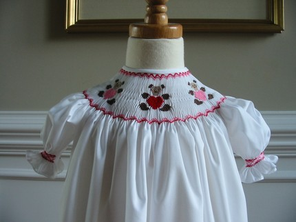 Boutique Smocked Valentine Heart Bears Bishop Dress