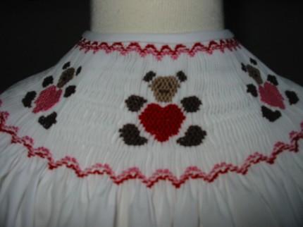 Boutique Smocked Valentine Heart Bears Bishop Dress