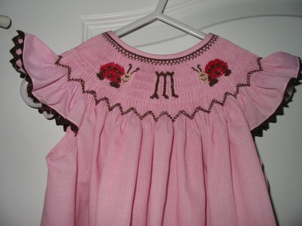 Custom Smocked Pink and Brown Ladybug Initial Dress