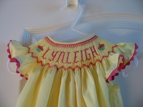 Custom Smocked Name Birthday Cupcake Dress Or Bubble