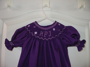 Custom Smocked Monogram Dot Bishop Dress