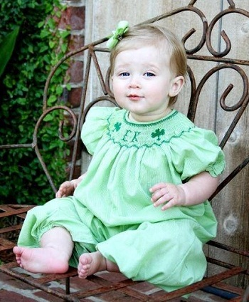 St. Patrick's Day Smocked Name or Initial Bubble