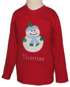 Custom Applique Snowman Shirt