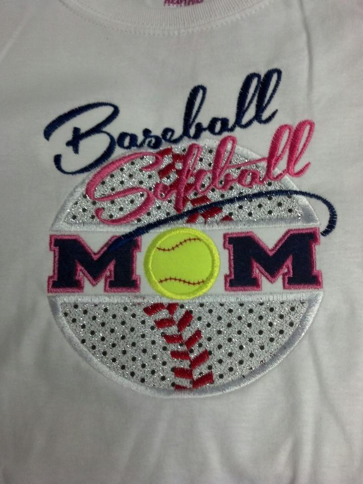 Custom Applique Softball Baseball Mom Shirt