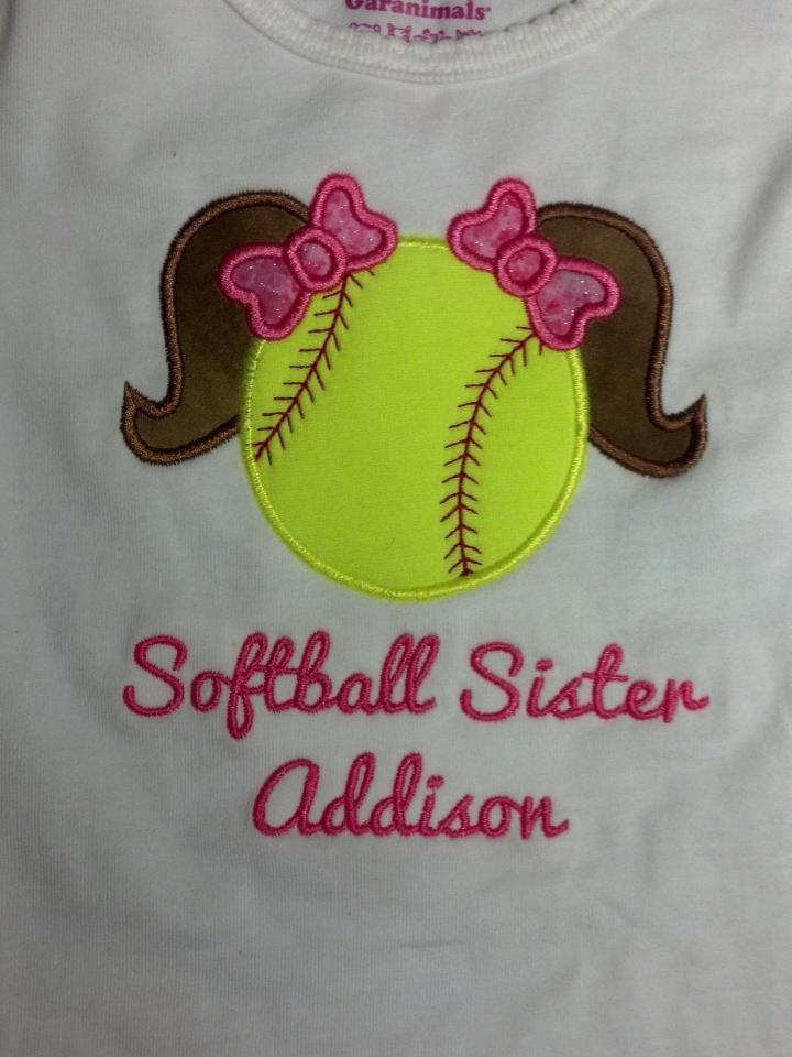 Custom Applique Softball Sister Shirt