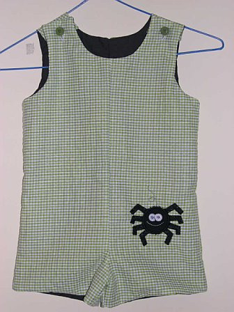 Custom Halloween Applique Spider Black Gingham Jon Jon